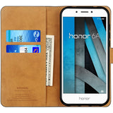 Huawei Honor 6A Case,High Quality Wallet Business Phone Case Cover (Black)