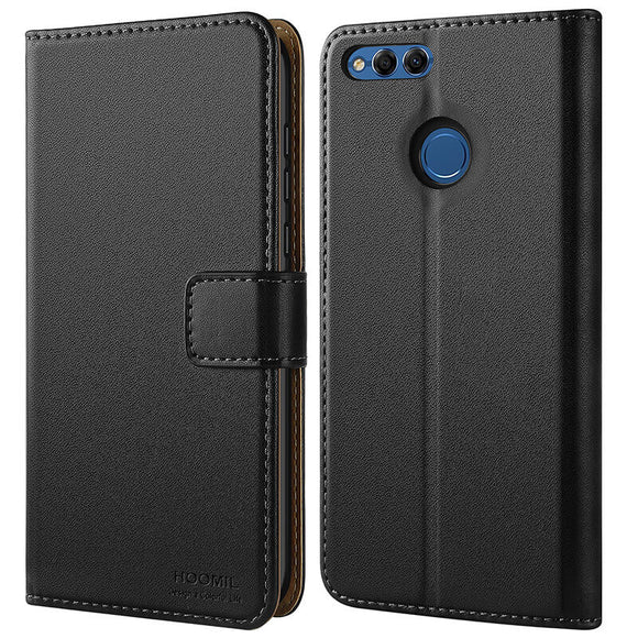 Huawei Honor 7X Case,High Quality Wallet Business Phone Case Cover (Black)