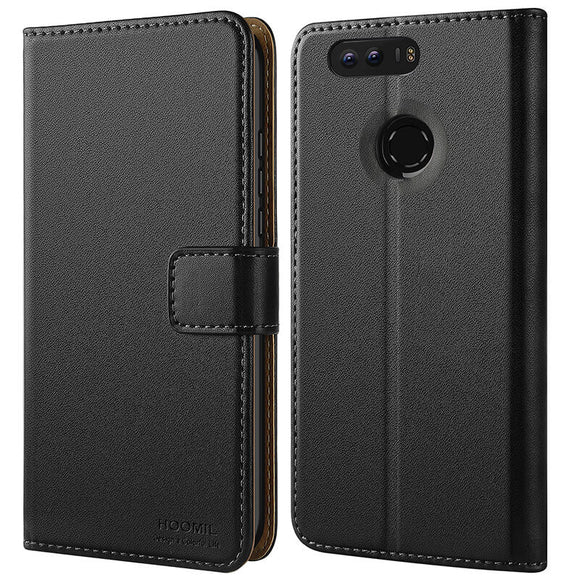 Huawei Honor 8 Case,High Quality Wallet Business Phone Case Cover (Black)