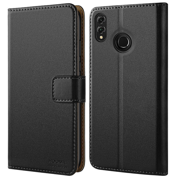 Huawei Honor 8X Case,High Quality Wallet Business Phone Case Cover (Black)