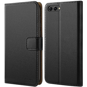 Huawei Honor View 10 Case,High Quality Wallet Business Phone Case Cover (Black)