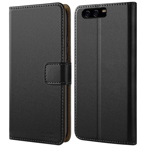 Huawei P10 Case,Premium Leather Flip Wallet Phone Case Cover (Black)