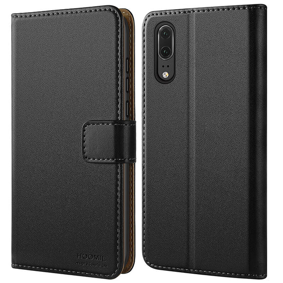 Huawei P20 Case,Premium Leather Flip Wallet Phone Case Cover (Black)