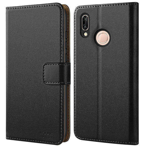 Huawei P20 Lite Case,Premium Leather Flip Wallet Phone Case Cover (Black)