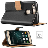 Huawei P9 Case,Premium Leather Flip Wallet Phone Case Cover (Black)