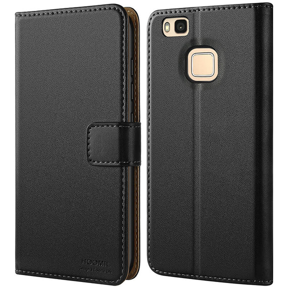 Huawei P9 Lite Case,Premium Leather Flip Wallet Phone Case Cover (Black)