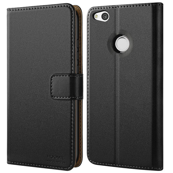 Huawei P9 lite 2017 Case,Premium Leather Flip Wallet Phone Case Cover (Black)