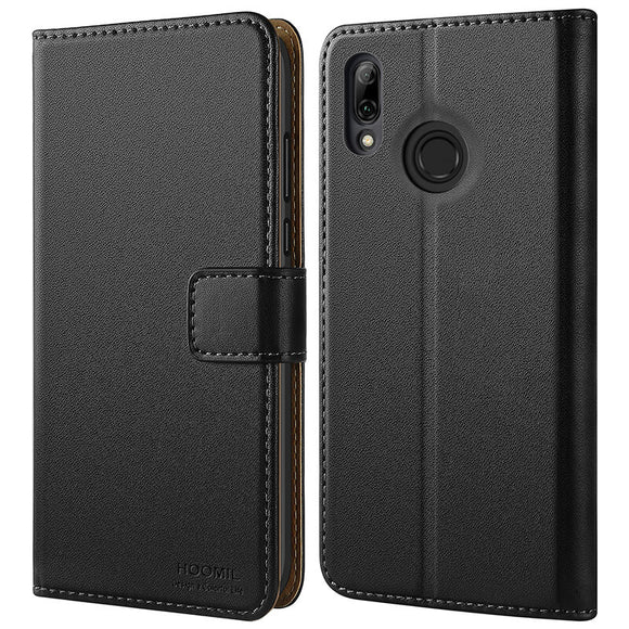 Huawei P Smart 2019 Case,Premium Leather Flip Wallet Phone Case Cover (Black)