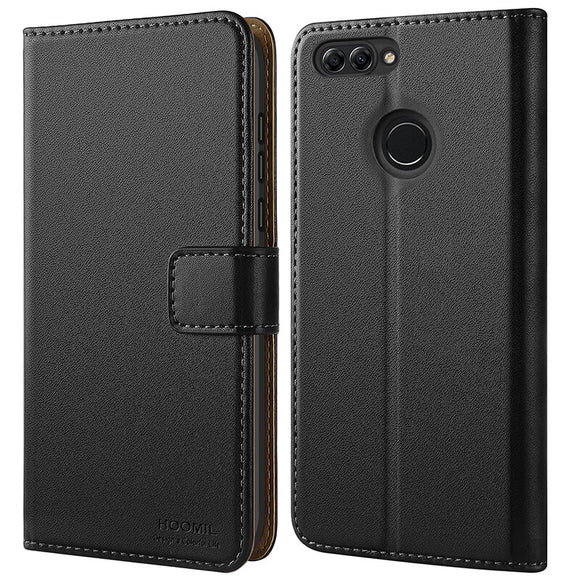 Huawei P Smart Case,Premium Leather Flip Wallet Phone Case Cover (Black)