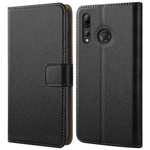 Huawei P Smart Plus 2019 Case,Premium Leather Flip Wallet Phone Case Cover (Black)
