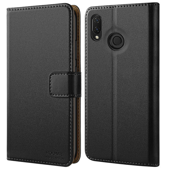 Huawei P Smart Plus Case,Premium Leather Flip Wallet Phone Case Cover (Black)