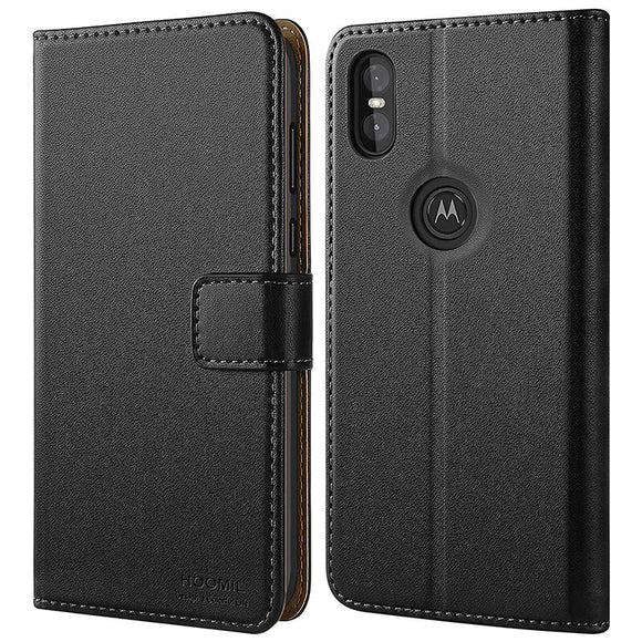 Best Case For Motorola Moto One ,Premium Leather Flip Wallet Phone Case Cover (Black)