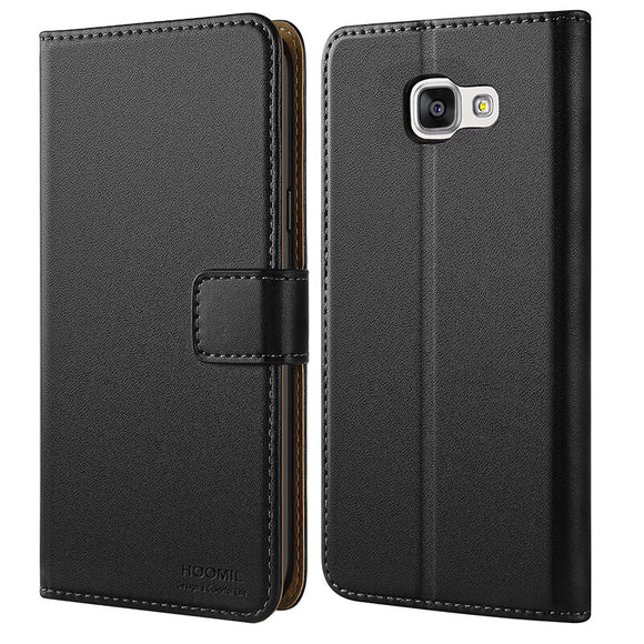 Samsung Galaxy A3 2016 Premium Leather Flip Wallet Phone Case Cover (Black)