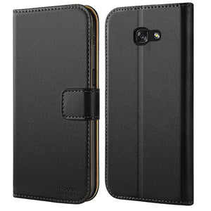 Samsung Galaxy A5 2017 Premium Leather Flip Wallet Phone Case Cover (Black)