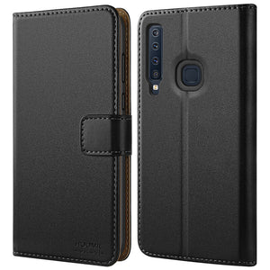 Samsung Galaxy A9 2018 Case Premium Leather Flip Wallet Phone Case Cover (Black)