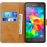 Samsung Galaxy Grand Prime Case, Leather Flip Wallet Phone Case Cover (Black)