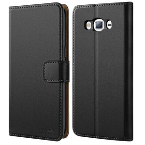 Samsung Galaxy J3 2016 Case, Leather Flip Wallet Phone Case Cover (Black)