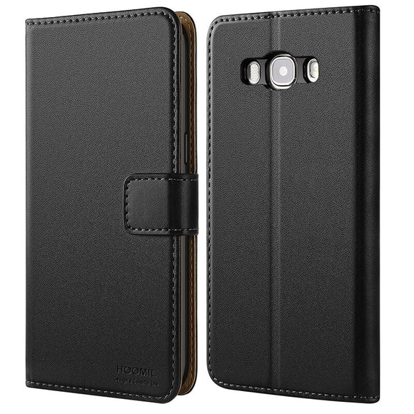 Samsung Galaxy J5 2016 Case, Leather Flip Wallet Phone Case Cover (Black)