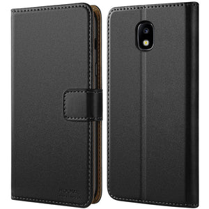 Samsung Galaxy J5 2017 Case, Leather Flip Wallet Phone Case Cover (Black)