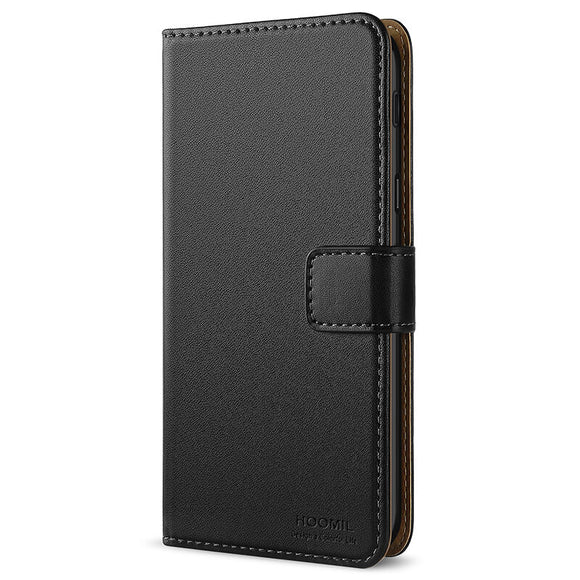 Samsung Galaxy J6 2018 Case, Leather Flip Wallet Phone Case Cover (Black)