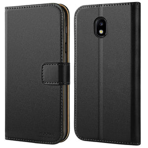 Samsung Galaxy J7 2017 Case, Leather Flip Wallet Phone Case Cover (Black)