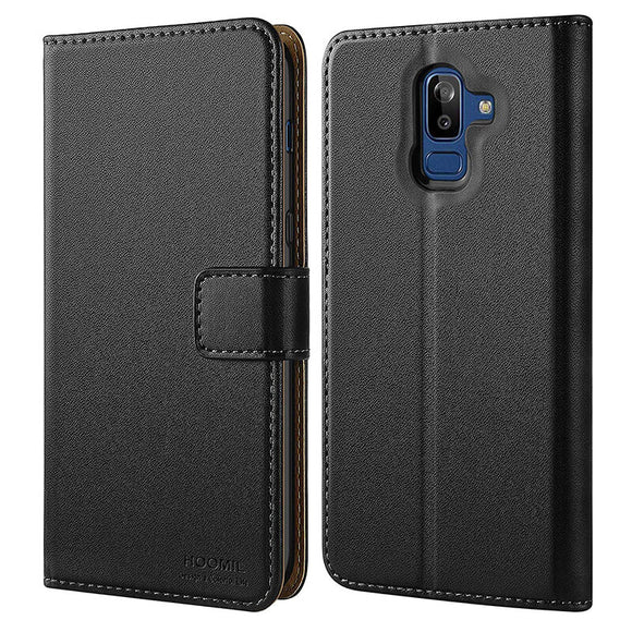 Samsung Galaxy J8 2018 Case,Premium Leather Flip Wallet Phone Case Cover (Black)