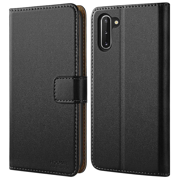 Samsung Galaxy Note 10 Case, Leather Flip Wallet Phone Case Cover (Black)