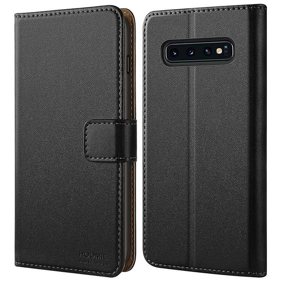 Samsung Galaxy S10 Case,Premium Leather Flip Wallet Phone Case Cover (Black)