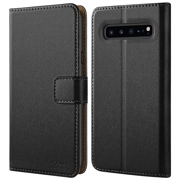 Samsung Galaxy S10 5G Case,PC Series  Leather Flip Wallet Phone Case Cover (Black)