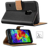 Samsung Galaxy S5 Case,Premium Leather Flip Wallet Phone Case Cover (Black)