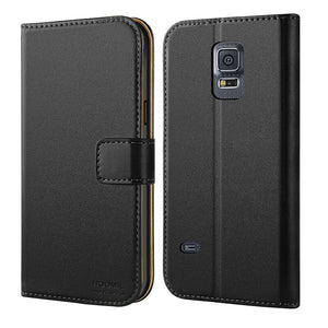 Samsung Galaxy S5 Mini Case,Premium Leather Flip Wallet Phone Case Cover (Black)