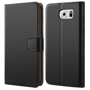 Samsung Galaxy S6 Case,Premium Leather Flip Wallet Phone Case Cover (Black)