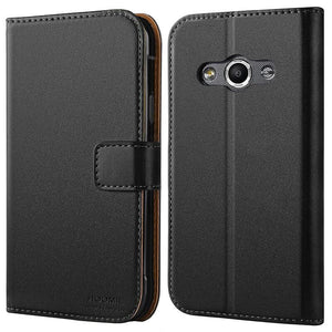 Samsung Galaxy Xcover 3 Premium Leather Flip Wallet Phone Case Cover Black