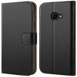 Samsung Galaxy Xcover 4 Case,Premium Leather Flip Wallet Phone Case Cover (Black)