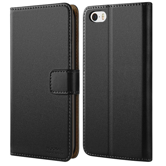 iPhone 5 Case  ,Premium Leather Flip Wallet Phone Case Cover (Black)