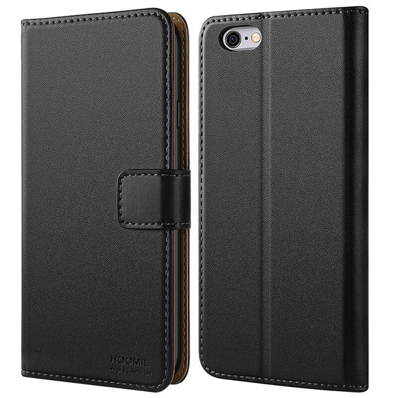 iPhone 6 Case / iPhone 6S Case  ,Premium Leather Flip Wallet Phone Case Cover (Black)