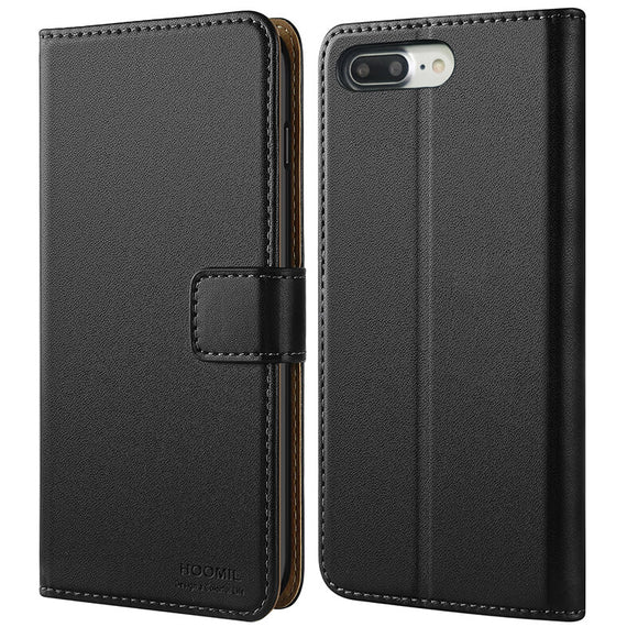 iPhone 7 Plus s Case / iPhone 8 Plus Case  ,Premium Leather Flip Wallet Phone Case Cover (Black)