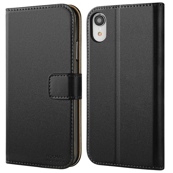 iPhone XR Case  ,Premium Leather Flip Wallet Phone Case Cover (Black)