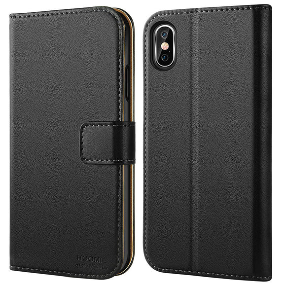 iPhone XS MAX Case  ,Premium Leather Flip Wallet Phone Case Cover (Black)