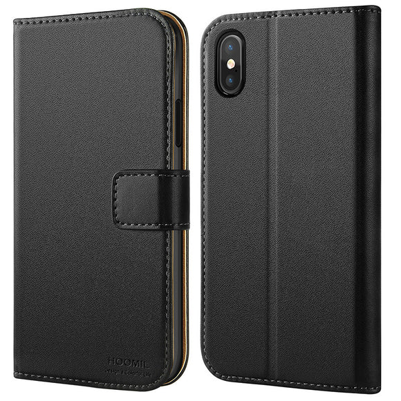 iPhone X / XS Case  ,Premium Leather Flip Wallet Phone Case Cover (Black)