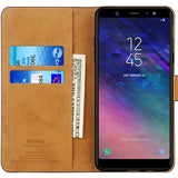 Samsung Galaxy A6 2018 Premium Leather Flip Wallet Phone Case Cover (Black)