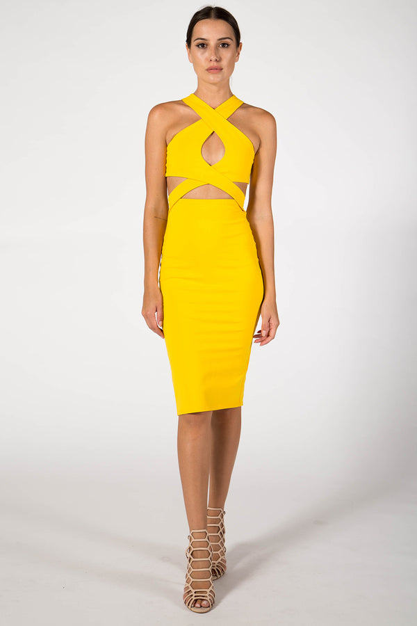 CROSS FRONT CUT OUT MIDI DRESS