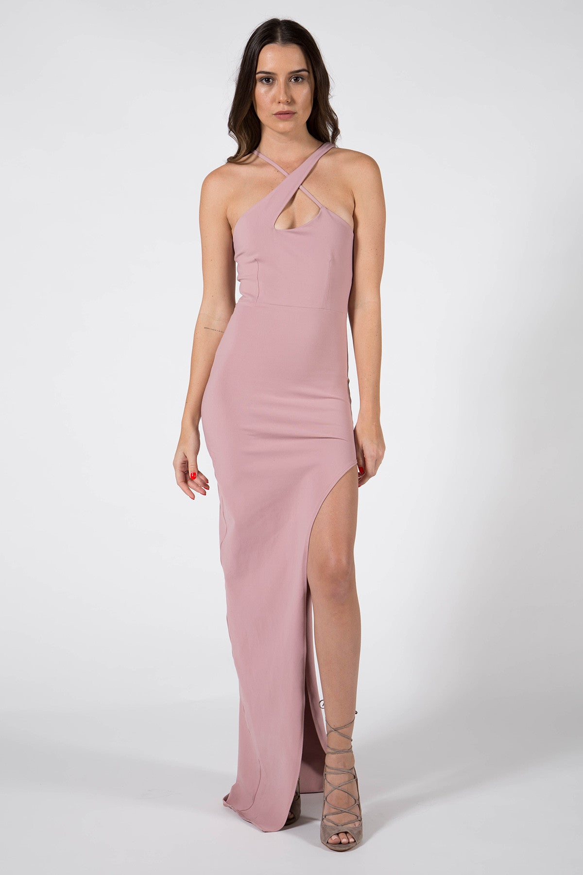 X Front High Slit Gown - Donna Mizani
