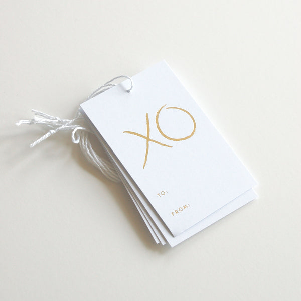 XO - Gold Foil Gift Tags