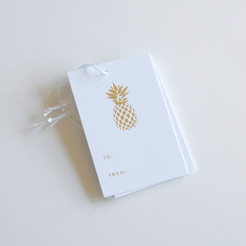 Pineapple - Gold Foil Gift Tags