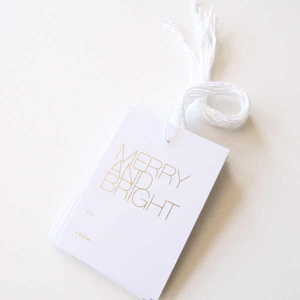Merry & Bright - Gold Foil Gift Tags