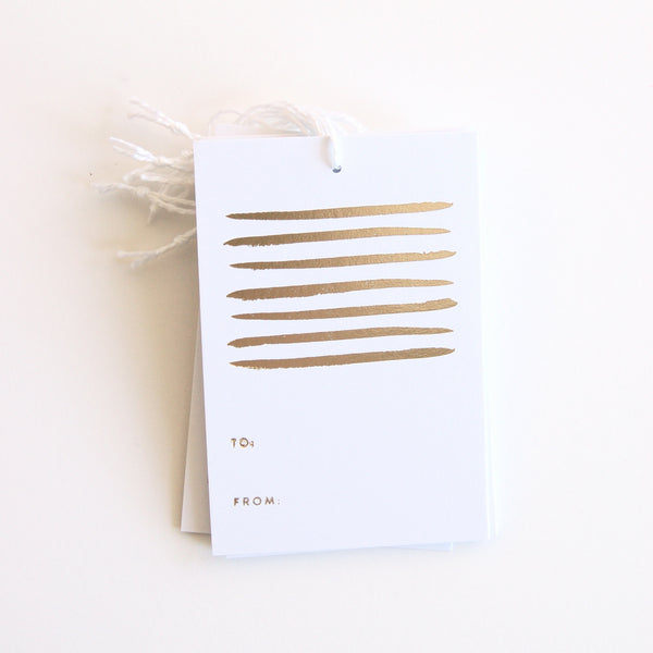 Stripes - Gold Foil Gift Tags