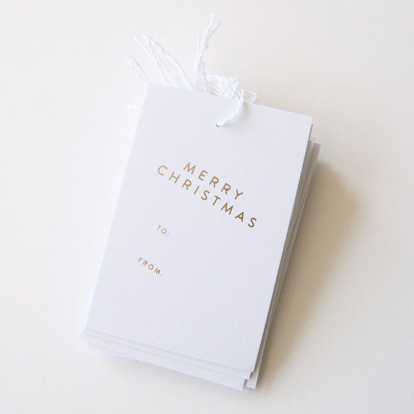 Merry Christmas - Gold Foil Gift Tags