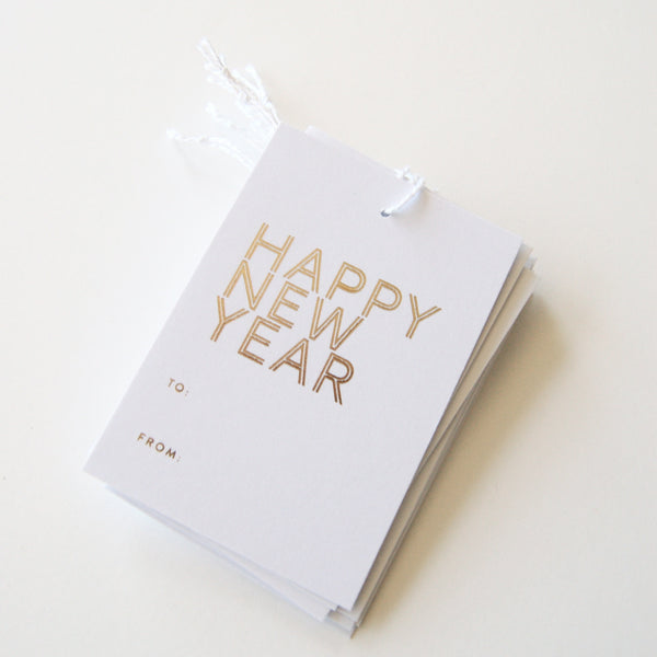 Happy New Year - Gold Foil Gift Tags
