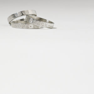 Thin Silver Ring HOPE.PEACE.LOVE